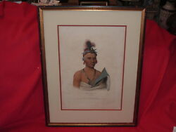 Original McKenney & Hall North American Indian Lithograph Kee-Shes-Wa Chief 1842
