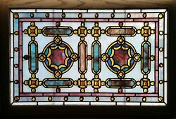 Antique American Stained Glass Window wChunk Jewels likely by Rudy Bro.