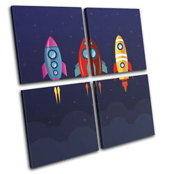 Space Cartoon Modern For Kids Room MULTI CANVAS WALL ART Picture Print $244.99