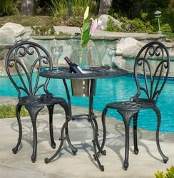 3 Pc Bistro Table Chairs Ice Bucket Outdoor Patio Furniture Set Seat Dining Deck