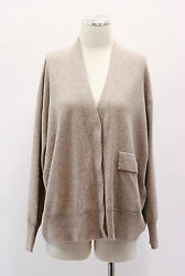 .NWT $2400 Brunello Cucinelli Women's Light Brown Cashmere Cardigan Size Medium