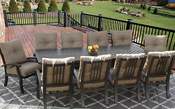 BARBADOS CUSHION OUTDOOR PATIO 11PC DINING SET FOR 10 PERSON WITH 44X102 Table