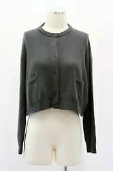 .NWT$4745 Brunello Cucinelli Womens Cashmere Gray Sequined Cropped Cardigan Sz S