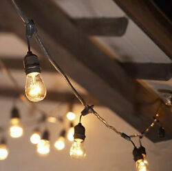 String Lighting 48 Ft Indoor Outdoor 15 Lights Electric Café Patio Vintage Style