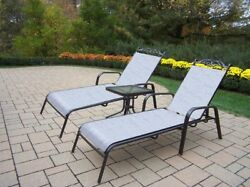 Oakland Living 2-Piece Chaise Lounge Set + 20-In End Table Patio Furniture Pool