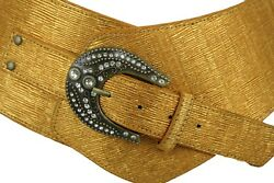 Women Metal Bling Antique Beads Buckle Wide Western Fashion Belt Gold Plus XL $17.95
