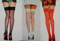 Music Legs Thigh High Stockings Plus Sheer Backseam Queen Black White Red 4102Q $5.39