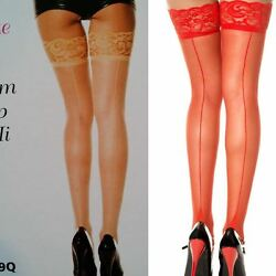 Music Legs Thigh High Stockings Lace Topper Plus Backseam Queen Beige Red 4119Q $7.19