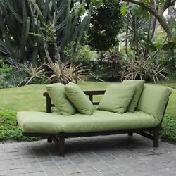 Outdoor Sofa Brown wGreen Cushions Patio Furniture Daybed Couch Lounge Chair