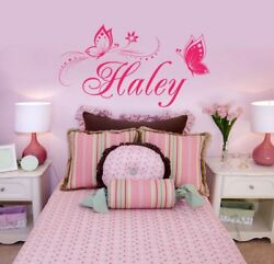 Butterfly Wall Sticker Personalized ONE NAME Vinyl Wall Decal Girl's Bedroom  $16.99