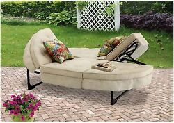Mainstays Orbit Chaise Comfortable Lounge Chair Patio Furniture Tan Seats 2