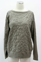 NWT $2760 Brunello Cucinelli Women's Green Floral Sweater 100% Cashmere Size L