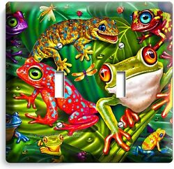 CUTE EXOTIC RAINFOREST TROPICAL TREE FROGS DOUBLE LIGHT SWITCH WALL PLATE COVER $12.99