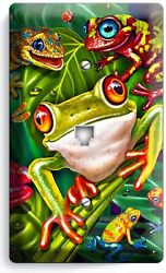 CUTE EXOTIC RAINFOREST TROPICAL TREE FROGS PHONE JACK TELEPHONE WALL PLATE COVER $10.99