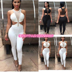 New Women Sexy Sleeveless  Backless  Club Jumpsuit & Rompers Bodycon Bodysuit  $18.88