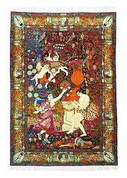 FINEST ANTIQUE PERSIAN LAVAR KERMAN PICTORIAL DANCE OF NYMPH RUG BY ALI KERMANI