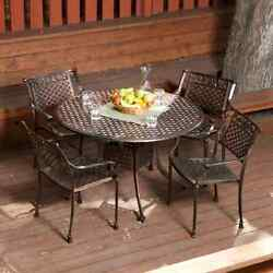 Outdoor High Quality Sturdy Patio Dining Set Antique Copper Round Table 4 Chairs