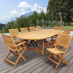 11 pc Teak Oval Double Extendable Patio Dining Set 1 table 8 chairs 2 armchairs