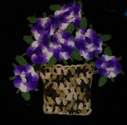 Crochet piece block purple basket of pansies for upcycle crafting unique piece $7.50