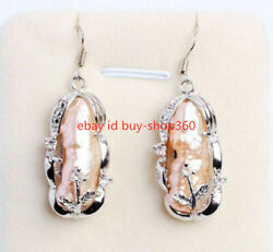 8x20mm Natural Pink Freshwater Pearl Sterling Silver Crystal Earrings