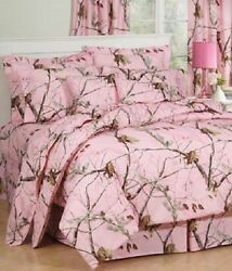Realtree AP pink Camo 4 Piece King Comforter Bedding Set & 1 Shower Curtain