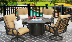 OUTDOOR PATIO FURNITUR 5PC SET 50 Inch ROUND FIRETABLE Series 4000 WITH CUSHION