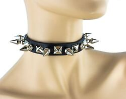 Spike Studded Gothic Collar Genuine Leather Punk Goth Thrash Metal Choker