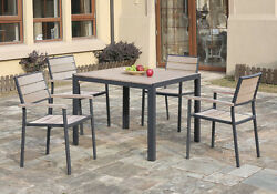 5 pcs Casual Style Patio Outdoor Dining Set Table Stackable Chairs Wood Metal