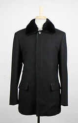 New. BRIONI Black Twill Cashmere With Leather Trimmings Coat Size 5040 $4195