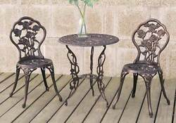 3 pcs Bistro Set Outdoor Patio Garden Round Table Chair Rose Floral Iron Bronze