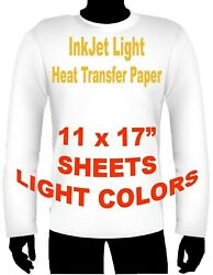 INK JET HEAT IRON ON TRANSFER PAPER LIGHT 11 X 17quot; 15 SHEETS $16.99