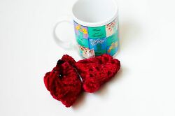 Red Velvet Plush Teddy Bear in Moms Are Special Great Wonderful Print Mug USA $10.00