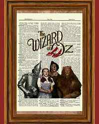 Wizard of Oz Dictionary Art Print Picture Poster Dorothy Tinman Lion Scarecrow $5.99