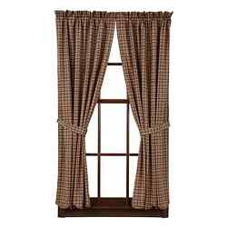 New Country Primitive Log Cabin BROWN TAN PLAID PANELS Drapes Window Curtain 84