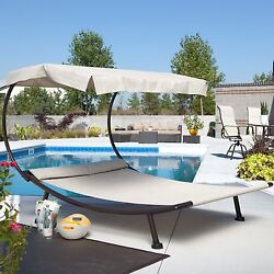 Double Chaise Lounge With Canopy Pool Deck Patio Outdoor Furniture Shade And