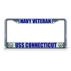 NAVY VETERAN USS CONNECTICUT Metal License Plate Frame Tag Border Two Holes $17.99