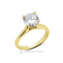 1.59ct E-VS2 VG Round Certified Diamond 14k Gold Cathedral Solitaire Ring 3.5mm