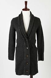 Label + Thread – Stunning Black CASHMERE Blend Knit Long Cardigan – Size S