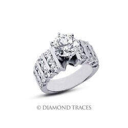2.34ct D-SI1 Ideal Cut Round AGI Genuine Diamonds 950 Plat. Wide Band Ring 9.2mm