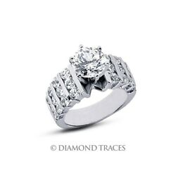 2.88ct H-SI3 Ideal Cut Round AGI Genuine Diamonds 950 Plat. Wide Band Ring 8.6mm