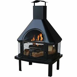 Outdoor Wood Fire Pit Patio Fireplace Heater Backyard Deck Yard Metal Steel