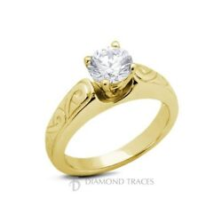 2.02ct H-SI2 Ideal Round Certified Diamond 14k Gold Vintage Engraved Ring 4.6mm