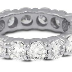 4.28ctw EVS1V.Good Round Earth Mined Diamonds 18KW Classic Eternity Band 6.7gr