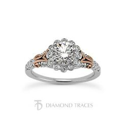 1.95ct tw G-VS2 Ideal Round Genuine Diamonds 18k Halo Gallery Accents Ring 2.5mm