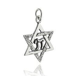 Star of David with Chai Charm 925 Sterling Silver Jewish Judaica Hebrew Life $17.60
