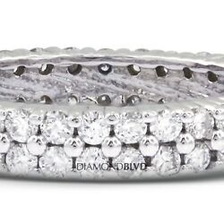 2.53ct EVS1VG Round Earth Mined Diamonds Platinum Two-Rows Eternity Band 9.7gr