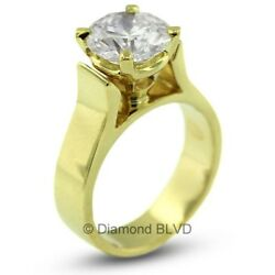 2.22 CT HI1Ex Round AGI Certified Diamond 18KY Cathedral Engagement Ring 8.4gr