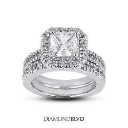 2.10ct ESI2Ex Princess AGI Earth Mined Diamonds Platinum Halo Wedding Set 18gr
