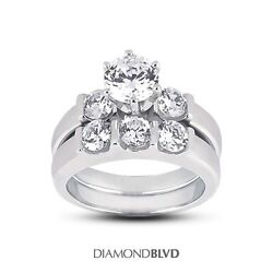 1.90 CT DSI1Ex Cut Round AGI Earth Mined Diamonds 18KW Classic Bridal Set 14gr