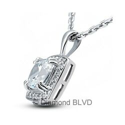 1.24ct FVS1Ex Square Radiant Earth Mined Diamonds 18KW Prong Halo Pendant 2.4g